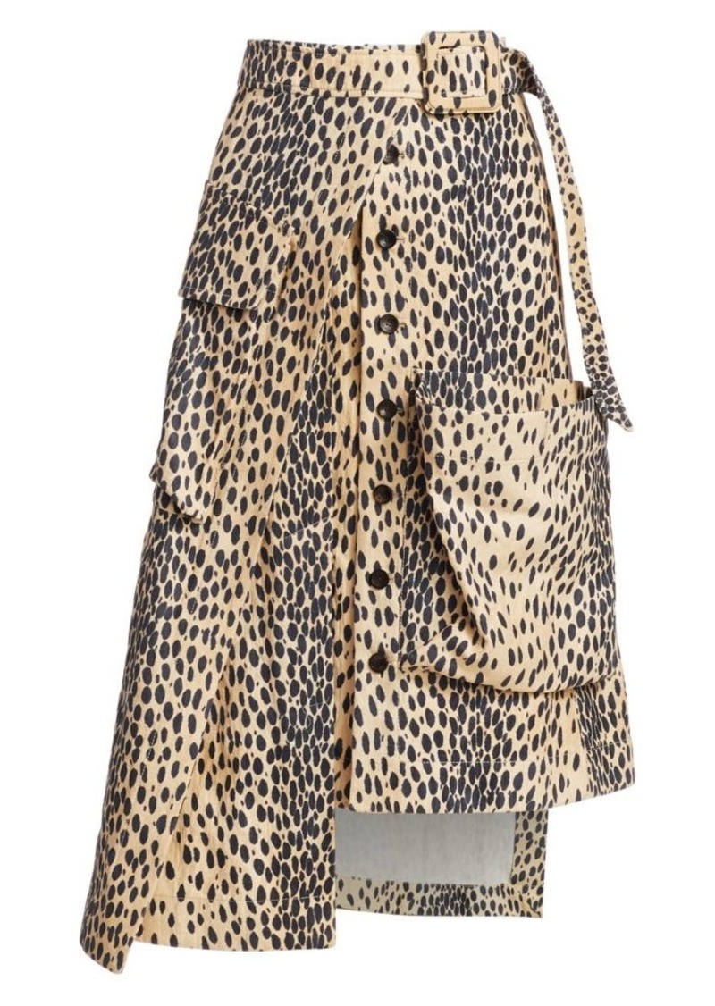 Jacquemus Thika Leopard Belted Flap Pocket High-Low A-Line Skirt