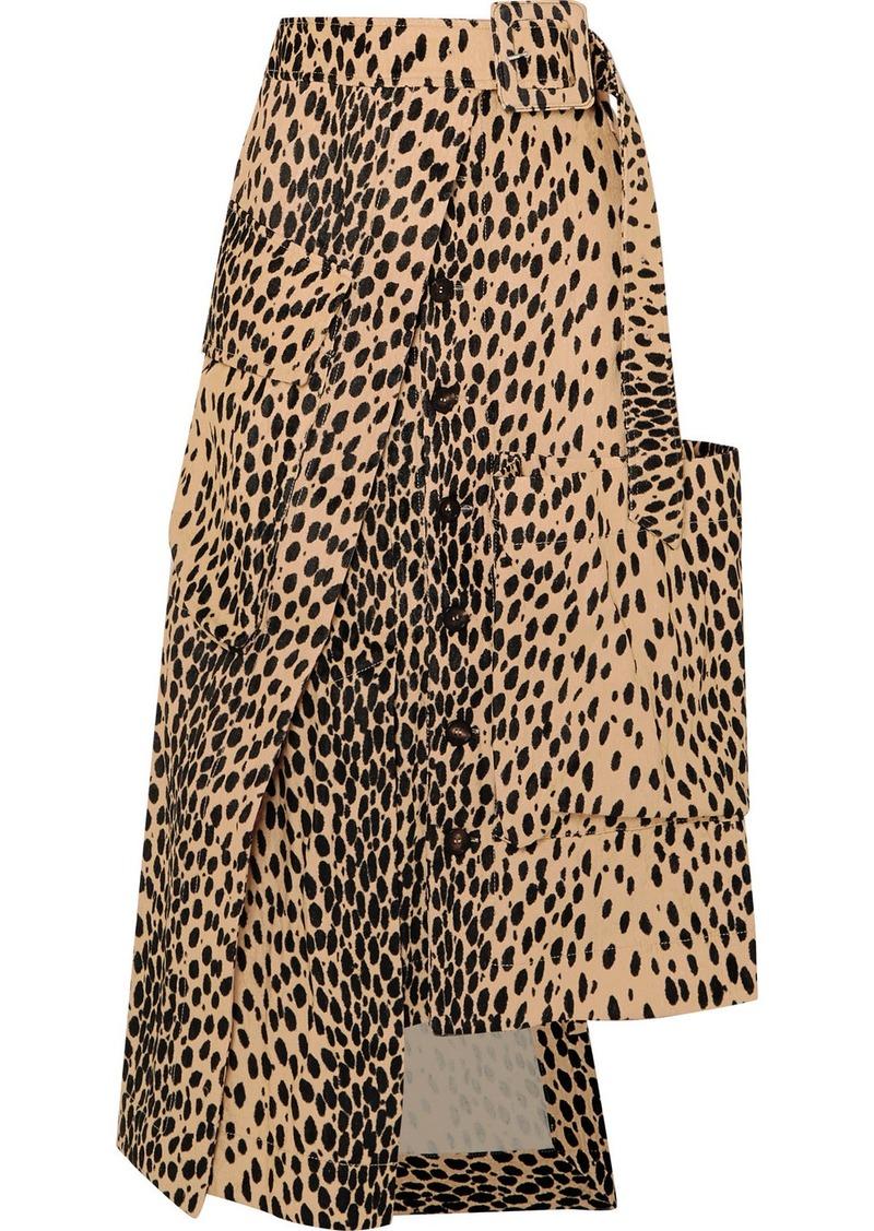 Jacquemus Thika Leopard-print Cotton-blend Midi Skirt