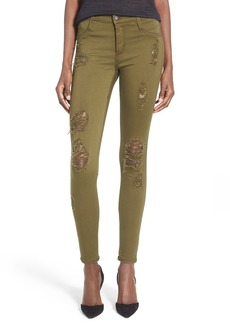 James Jeans Destroyed Ankle Denim Leggings (Military Green)