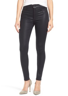 James Jeans 'High Class' Coated High Rise Skinny Jeans (Dark Royal Glossed)