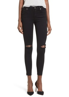 James Jeans High Rise Ripped Skinny Jeans (Black Swan Raw)