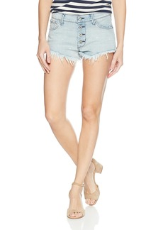 James Jeans Women's Cheeky Button-Fly Frayed Cut-Off Shorts