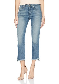 James Jeans Women's Hi-Lo Straight Stepped Hem High Rise Jean