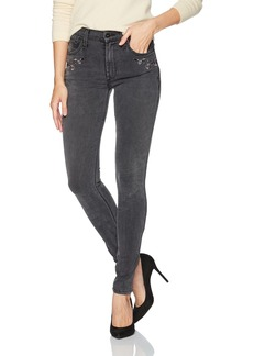 James Jeans Women's High Rise Embroidered Skinny Jean in Dream Garden Grey