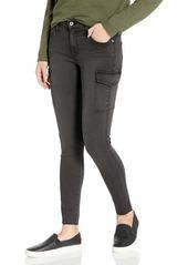 James Jeans Women's J Twiggy Ankle Cargo Skinny Jean with Raw Hem in Blacked