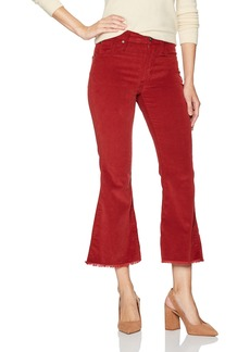 James Jeans Women's Kiki Cropped Micro Corduroy Flare Clay red