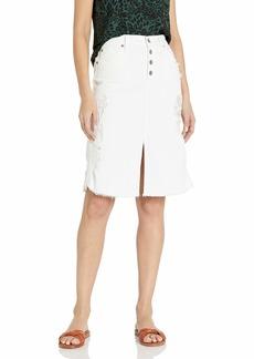 James Jeans Women's Lana Knee Length Raw Hem Skirt