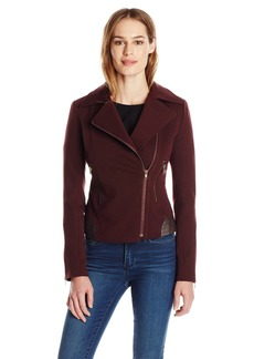 James Jeans Women's Moto Jacket with Vegan Leather Detailing