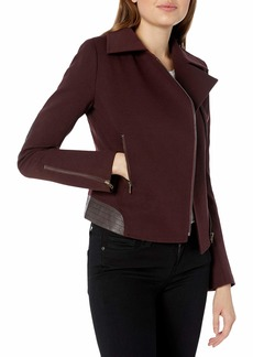 James Jeans Women's Moto Jacket with Vegan Leather Detailing in