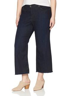 James Jeans Women's Plus Size Carlotta Wide Leg Crop Jean in Siren Fray
