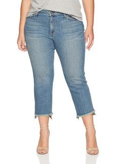 James Jeans Women's Plus Size Hi-Lo Straight Leg Stepped Hem Jean in