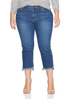 James Jeans Women's Plus Size Hi-Lo Straight Leg Stepped Hem Jean in Victory