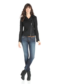 James Jeans Women's Ponte Combo Motorcycle Jacket