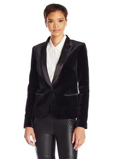 James Jeans Women's Tuxedo Jacket with Satin Leather Lapels