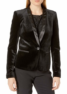 James Jeans Women's Tuxedo Jacket with Satin Leather Lapels in
