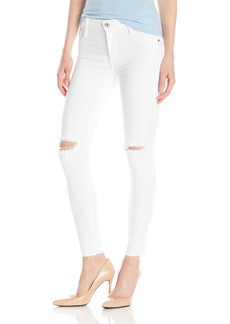 James Jeans Women's Twiggy Ankle Length Skinny with Raw Hem in Frost White