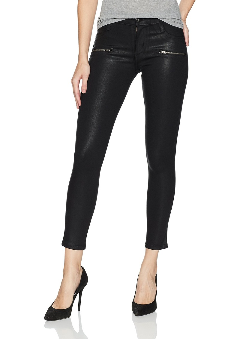 James Jeans Women's Twiggy Skinny Ankle Coated Jean with Zipper in Oil Slicked Black
