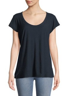 James Perse Cap-Sleeve Scoop-Neck Slub Tee