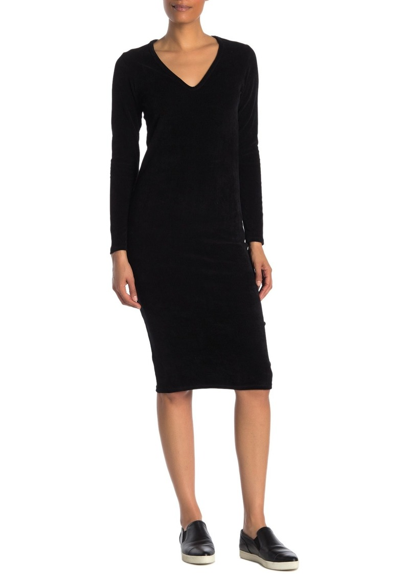 James Perse Corduroy V-Neck Long Sleeve Midi Dress