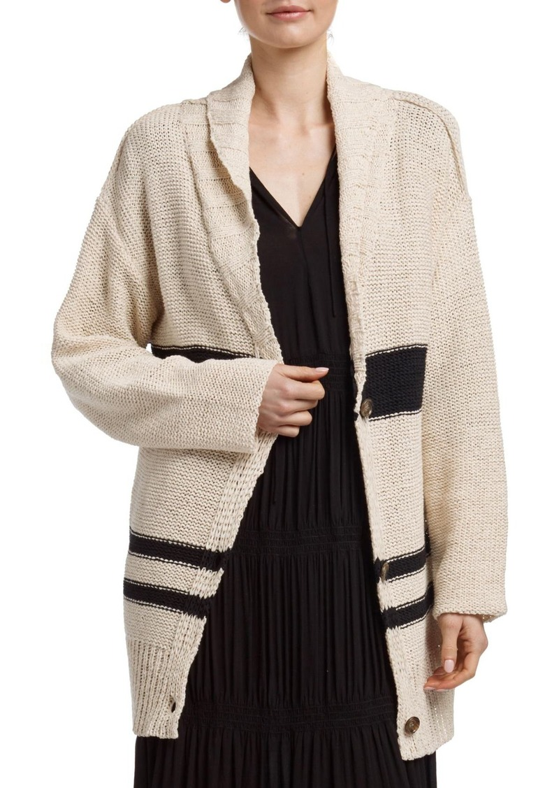 James Perse Striped Button Front Tunic Cardigan
