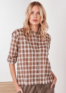 James Perse Cropped Voile Plaid Shirt - Ivory/Camel