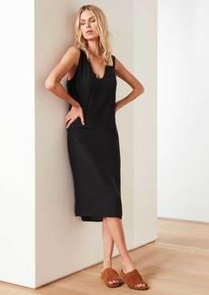 James Perse Cupro V Neck Shift Dress - Black