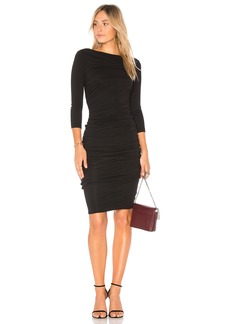 Double Shirred Boatneck Dress