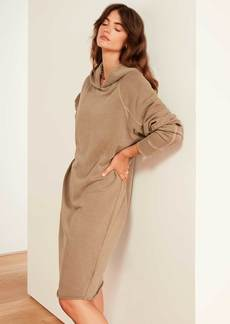 James Perse French Terry Hooded Raglan Dress - Fawn Pigment