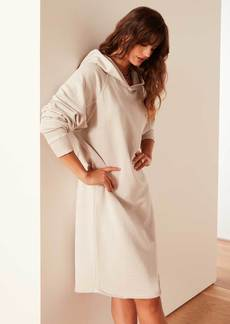 James Perse French Terry Hooded Raglan Dress - Pearl Pigment