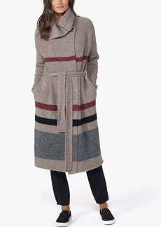 James Perse BELTED STRIPED SWEATER COAT