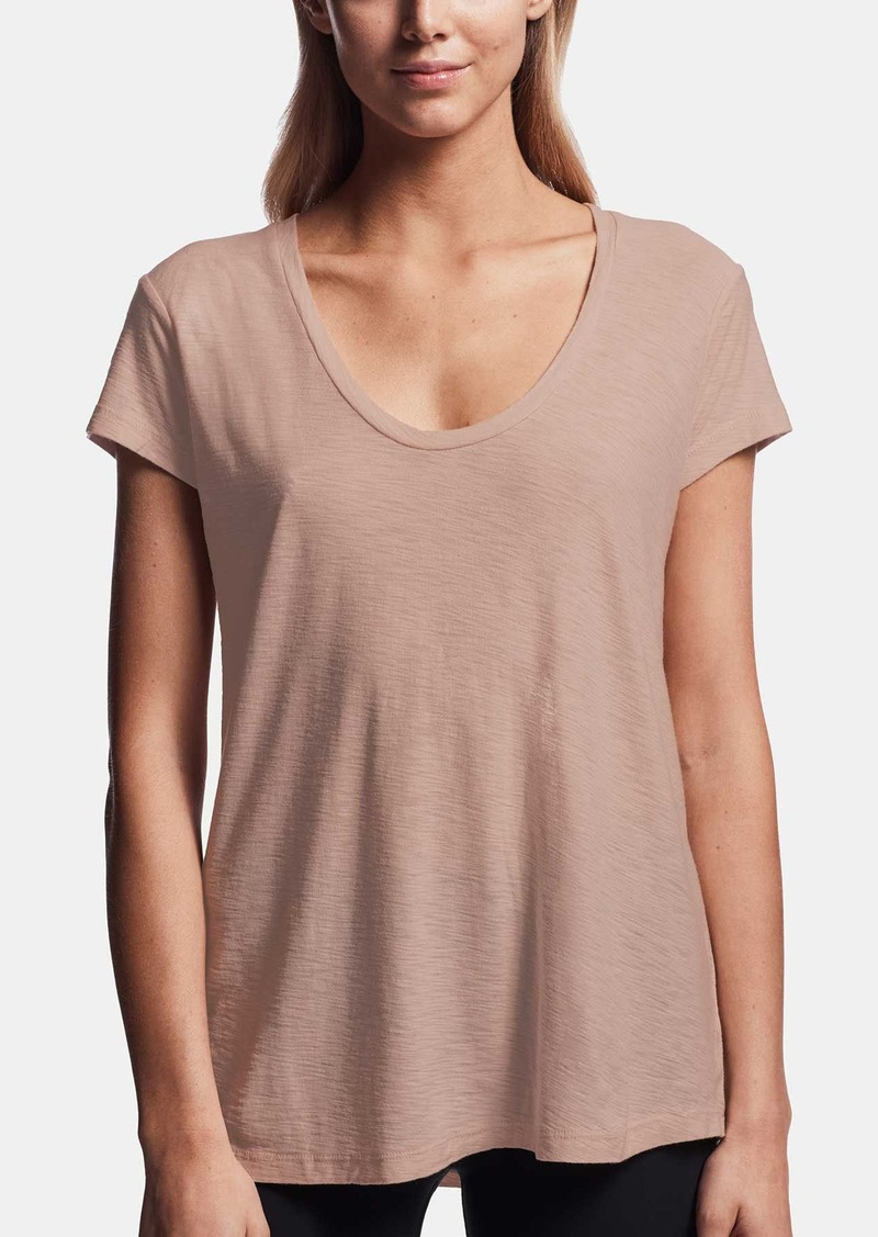 James Perse COTTON CREPE DEEP U-NECK TEE