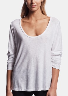 James Perse COTTON CREPE LONG SLEEVE V-NECK