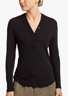 James Perse COTTON RIB LONG SLEEVE HENLEY