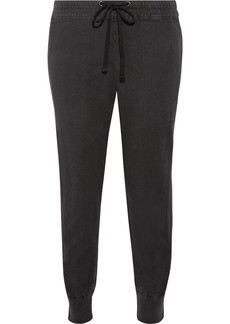 James Perse Cropped cotton-blend twill track pants