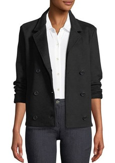 James Perse Double-Breasted Stretch-Cotton Blazer