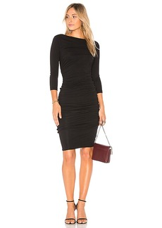 James Perse Double Shirred Boatneck Dress in Black. - size 0 (XXS/XS) (also in 1 (XS/S),2 (S/M),3 (M/L))