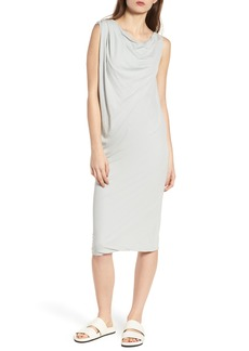 James Perse Draped One-Shoulder Midi Dress