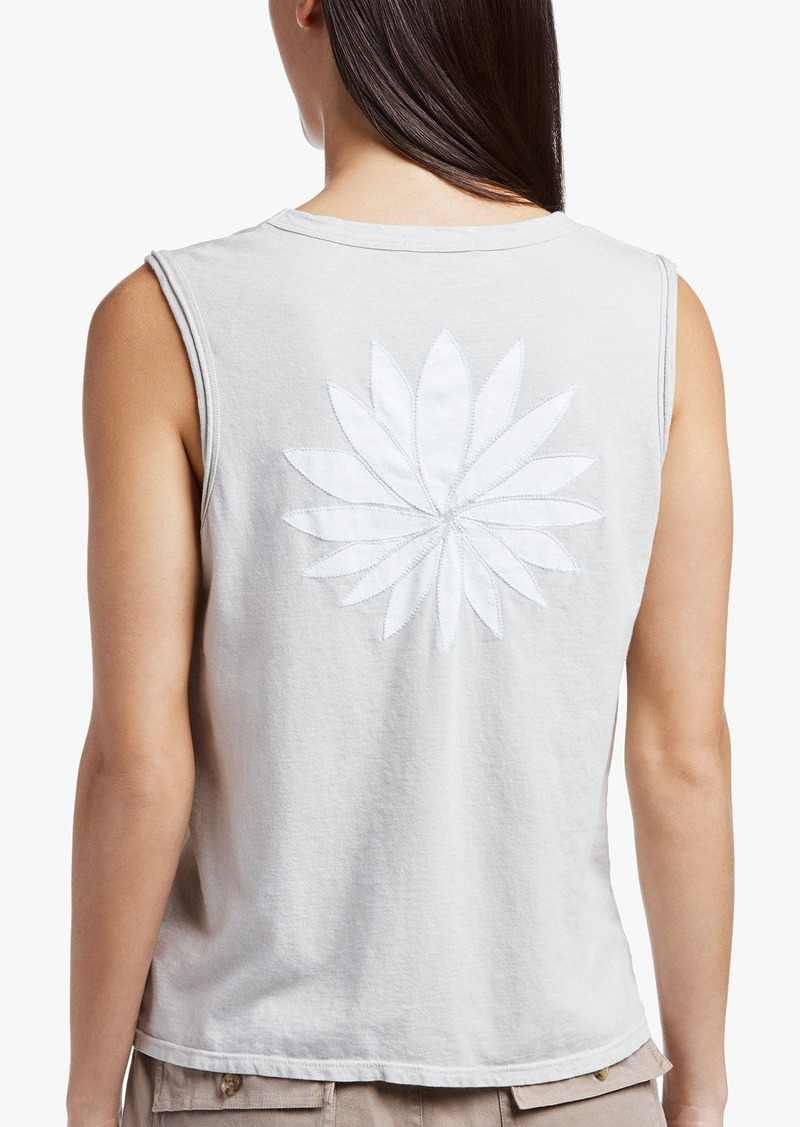 James Perse EMBROIDERED LOTUS VINTAGE TANK