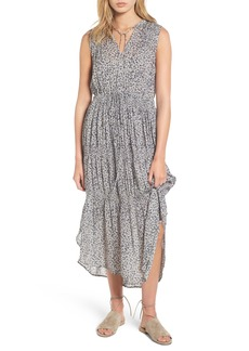 James Perse Floral Pleated Midi Dress
