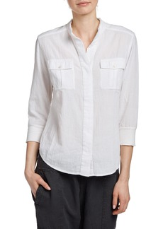 James Perse Frayed Collar Long Sleeve Shirt