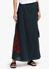 James Perse GRATEFUL DEAD ROSE EMBROIDERED WRAP SKIRT