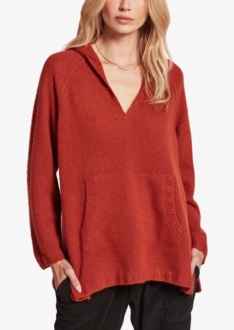 James Perse HOODED CASHMERE PULLOVER PONCHO