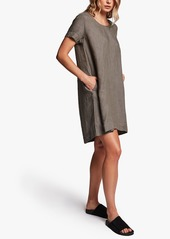 James Perse LINEN BACK PLEAT SHIFT DRESS