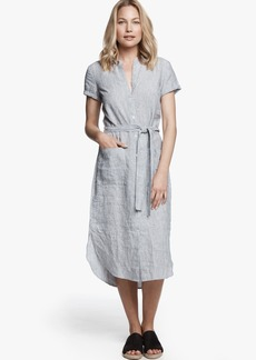 James Perse LINEN STRIPE SHIRT DRESS