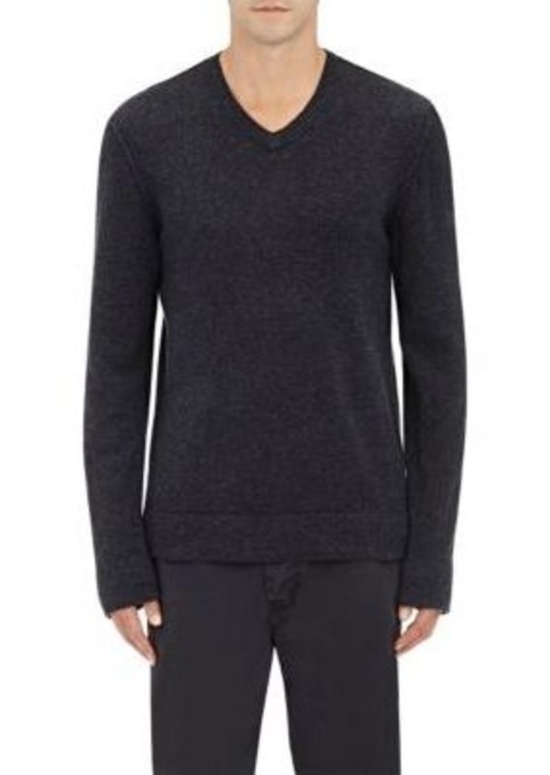 James Perse Men's Reverse-Seam Cashmere V-Neck Sweater-Grey Size 3