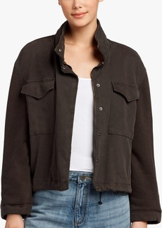 James Perse MIXED MEDIA CROPPED ARMY JACKET