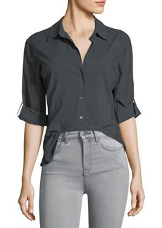 James Perse Rib-Panel Button-Front Blouse