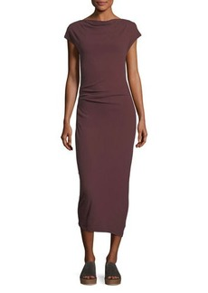 James Perse Sleeveless Tucked Jersey Midi Dress