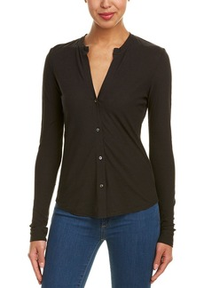James Perse Split Linen-Blend Top