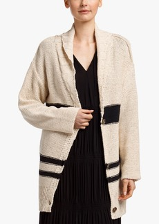 James Perse STRIPED COTTON LINEN BEACH CARDIGAN